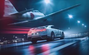 Картинка Белый, Самолет, Истребитель, GTR, Japan, Nissan, Car, Speed, Night, White, Nissan GT-R, Nissan GTR, Fighter, …