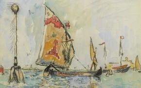 Картинка лодка, рисунок, акварель, парус, 1904, Поль Синьяк, Paul Signac, Венеция. Кьоджа