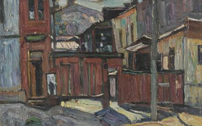 Картинка WINTER, Abraham Manievich, KIEV 1914 oil on canvas, COURTYARD IN SOVSKAYA STREET