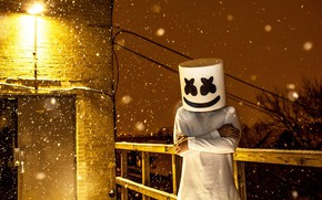 Картинка снег, диджей, EDM, Marshmello, DJ