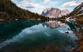 Картинка пейзаж, горы, природа, озеро, отражение, весна, Австрия, Альпы, леса