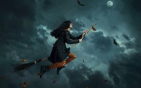 Картинка девушка, полёт, ведьма, метла