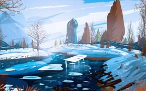Картинка Art, Winter, River, Illustration, Environments, Soumya Ranjan, by Soumya Ranjan