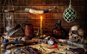 Обои письмо, стиль, оружие, перо, часы, череп, бутылка, карта, свеча, ключ, кружка, книга, монеты, натюрморт, песочные ...