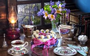 Картинка цветы, стиль, чай, книги, лампа, букет, чайник, окно, тарелка, Пасха, кружка, лента, чашка, тюльпаны, торт, …