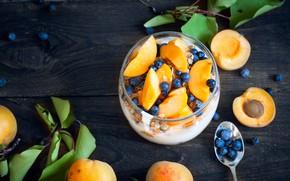 Картинка ягоды, завтрак, десерт, абрикосы, голубика