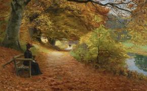 Обои датский живописец, Danish painter, Лесная дорога осенью, Wooded path in autumn, Ханс Андерсен Брендекильде, Hans ...