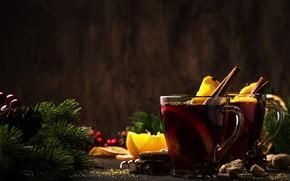 Картинка чай, новый год, рождество, хвоя