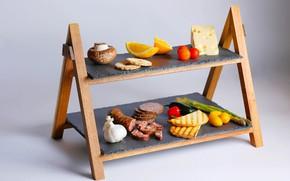 Картинка грибы, апельсины, сыр, помидоры, колбаса