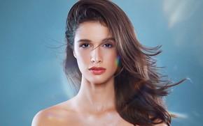 Картинка взгляд, девушка, лицо, фон, волосы, портрет, губки, плечи, Juliana Nunes