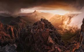 Картинка небо, солнце, закат, горы, тучи, природа, скалы, Австралия