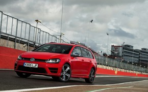 Картинка красный, Volkswagen, ограждение, универсал, 2015, Golf R Estate