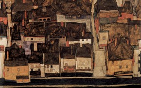 Картинка 1914, Egon Schiele, Krumau on the Moldova