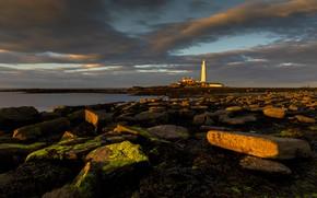 Картинка море, закат, камни, берег, маяк