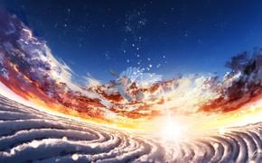 Картинка небо, девушка, ангел, фэнтези, падает
