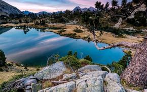 Картинка деревья, горы, озеро, камни, скалы, Франция, Pyrenees, Aragnouet