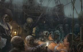 Картинка страх, жертва, свечи, кости, пираты, скелеты, Black Sun, The Flying Dutchman, Летучий Голландец, на корабле, …