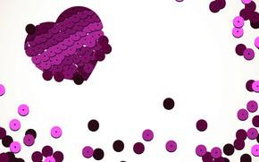Картинка абстракция, текстура, сердечки, белый фон, украшение, hearts, блёстки
