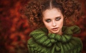 Картинка взгляд, девушка, лицо, портрет, кудри, свитер, Илона Баимова, Анна Полякова