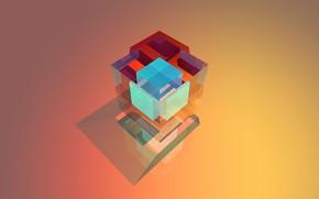 Картинка абстракция, кубик, куб, грань