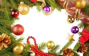 Картинка шарики, ветки, Новый год, хвоя, шишки