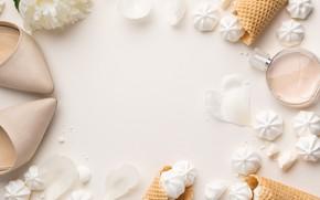 Картинка цветы, мороженое, white, белые, рожок, flowers, beautiful, пионы, зефир, peonies