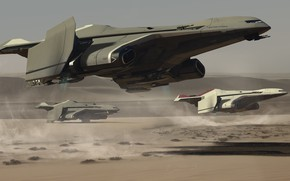 Картинка Самолет, Art, Game, Транспорт, Spaceship, Star Citizen, Реактивный самолет, Crusader, Science Fiction, Game Art, Cloud …