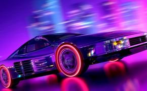 Картинка Музыка, Неон, Фон, Ferrari, Neon, Рендеринг, Testarossa, Synth, Retrowave, Synthwave, Ferrari Testarossa, New Retro Wave, …