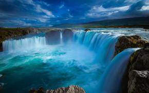 Картинка пейзаж, тучи, природа, водопад, Исландия, Годафосс