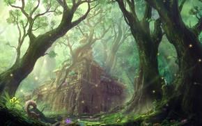 Картинка лес, замок, рисунок, белка, арт, руины, строение