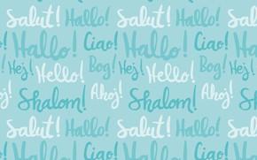 Картинка надписи, фон, голубой, текстура, pattern, hello