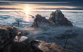 Картинка зима, озеро, утро
