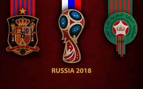 Картинка wallpaper, sport, logo, football, FIFA World Cup, Russia 2018, Spain vs Morocco