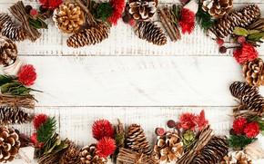 Картинка Новый год, шишки, wood, New Year, композиция