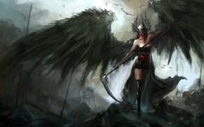 Картинка dark, demon, fantasy, stockings, wings, birds, angel, artwork, mask, fantasy art, dark fantasy, helmet, sickle, …