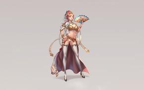 Картинка Girl, Beautiful, Art, Style, Minimalism, Characters, Dress, Fan, Camilla, Jangwon Park