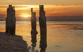 Картинка Pier, Clifton Springs, Sunset at the old jetty