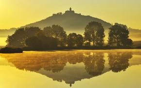 Картинка осень, гора, Германия, Тюрингия, Замок Вахсенбург
