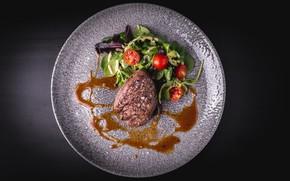 Картинка еда, мясо, салат, стейк, помидоры-черри, говядина