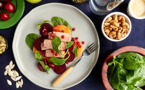 Картинка тарелка, мясо, вилка, закуска, свекла, шпинат, зёрна граната, орехи кешью