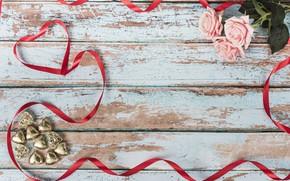 Картинка розы, букет, конфеты, лента, сердечки, pink, roses