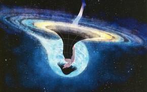 Картинка космос, спираль, галактика, девочка, черное платье, босая, Sawasawa, рождение вселенной, вверх ногами, звездное ночное небо