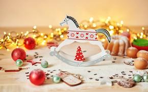 Картинка шары, рождество, печенье, украшение, гирлянды, декор, кекс, лошадка