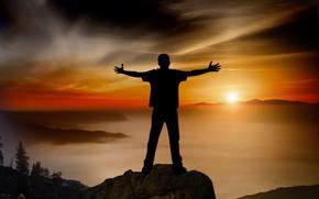Картинка закат, горы, человек