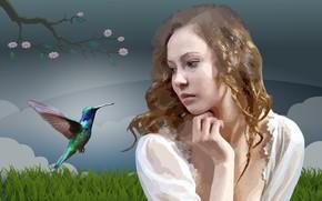 Картинка женщины, лицо, колибри, девочка, красочные, ave