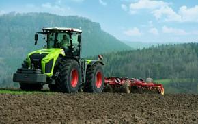 Картинка поле, трактор, Claas, пахота, сельхозтехника, Xerion 4000