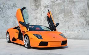 Картинка Orange, Scissor doors, Lamborghini Murcielago Roadster