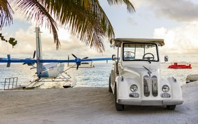 Картинка стиль, яхта, автомобиль, курорт, пляж, Мальдивы, гидроплан, атребуты, подводная лодка, island transport, Jumeirah Vittaveli, транспорт