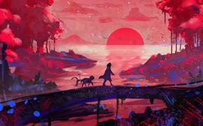 Картинка forest, trees, landscape, bridge, Sunset, art, figure, lake, sun, man, animal, digital art, creature, painting …