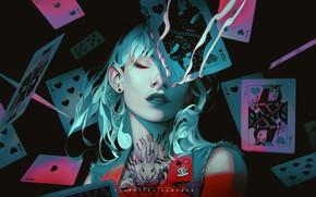 Картинка girl, fantasy, Alice in Wonderland, rabbit, tattoo, artist, digital art, artwork, fantasy art, closed eyes, …